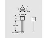 Tranzistor NPN 300V 500mA 0,625W B>25 TO92