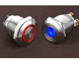 Tipka antivandal iz nerjavecega jekla SPDT 250V 5A Point BL LED24V