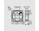 Ventilator 230V 120x120x25 S T 108,7m3/h 43dB 19W